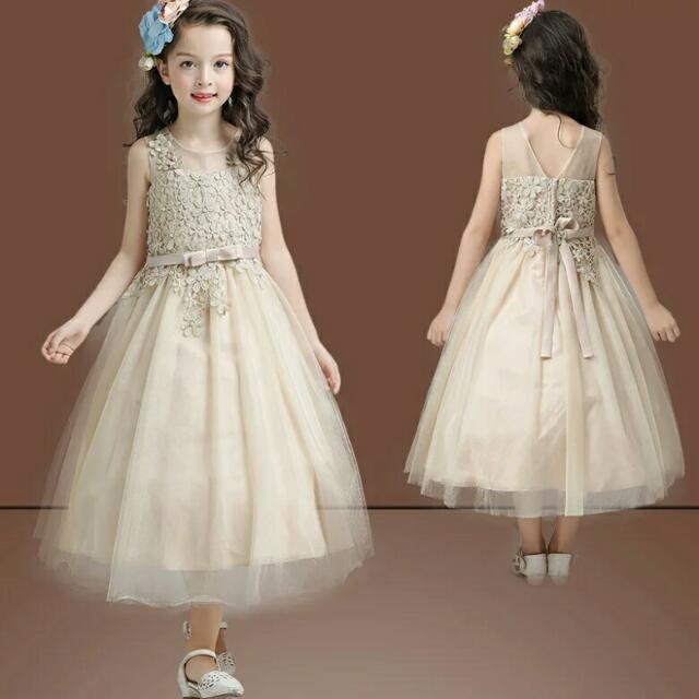 cc0beec95b1 Brand New  Wedding Baby   Infant Flower Girl Gold   Beige ...