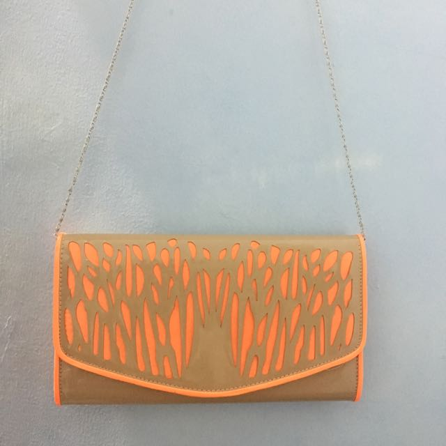 Brown Orange Clutch Bag