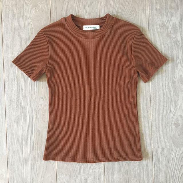 mixxmix | Brown Ribbed Short Sleeve Top
