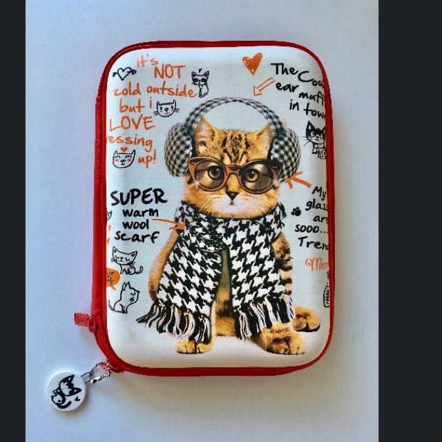 Cat with Ear Muffs Pencil Case