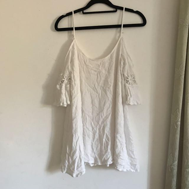 Cold Shoulder White Summery Dress