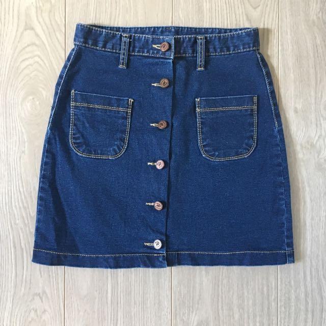 mixxmix | Denim Button Up Skirt