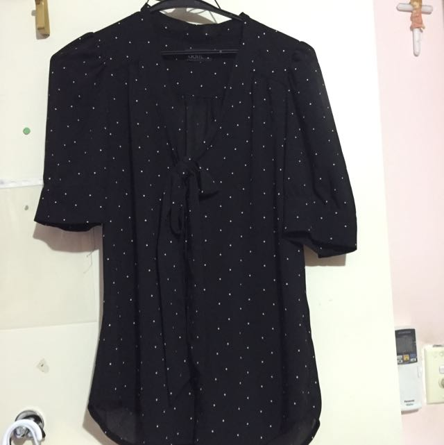Dotti Size 8 Black/white Spotted Blouse