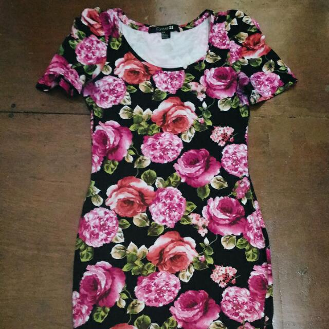 F21 Floral Bodycon Dress
