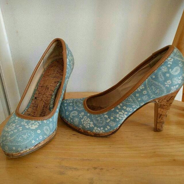Floral Blue Heels