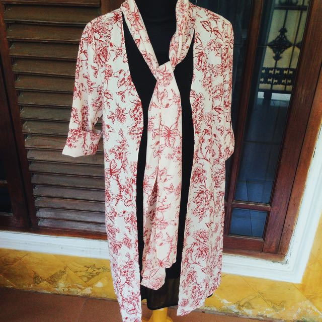 Flowery Outer With Scarf