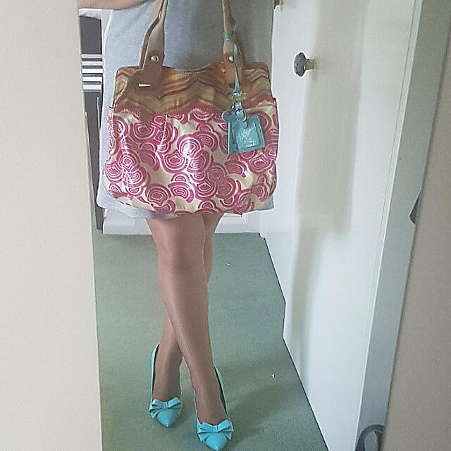 FOSSIL Key Per BAG Iconic Print Carryall Canvas Pink Blue