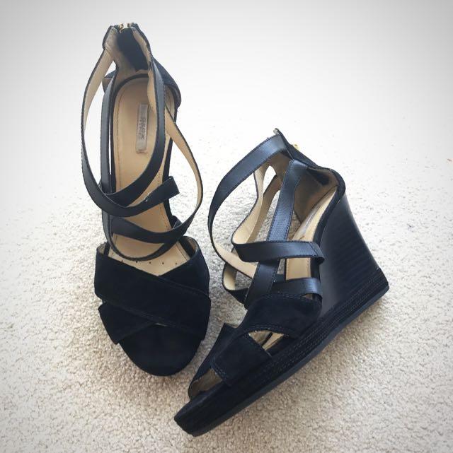 Geox D Sibilla Black Suede Platform Wedge Heel Sandal - Size 39