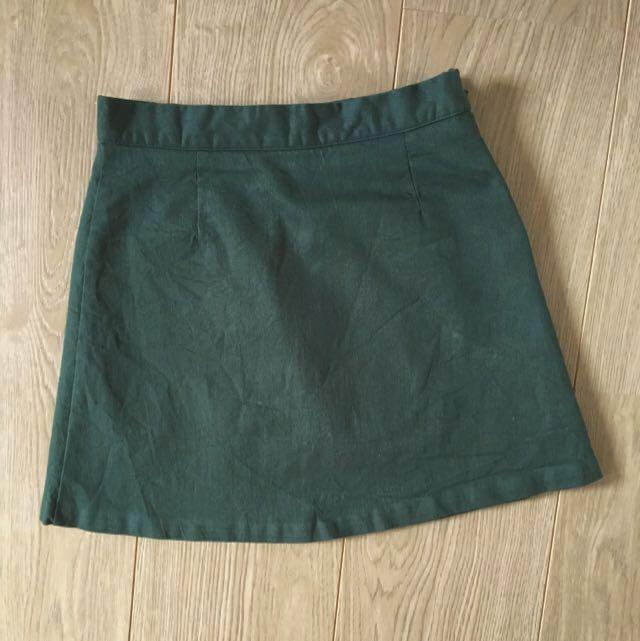 mixxmix | Green A-line Structured Mini Skirt