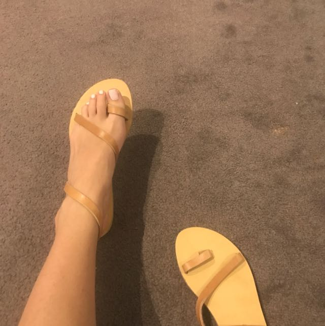Handmade Leather Tan Sandals Greece Size