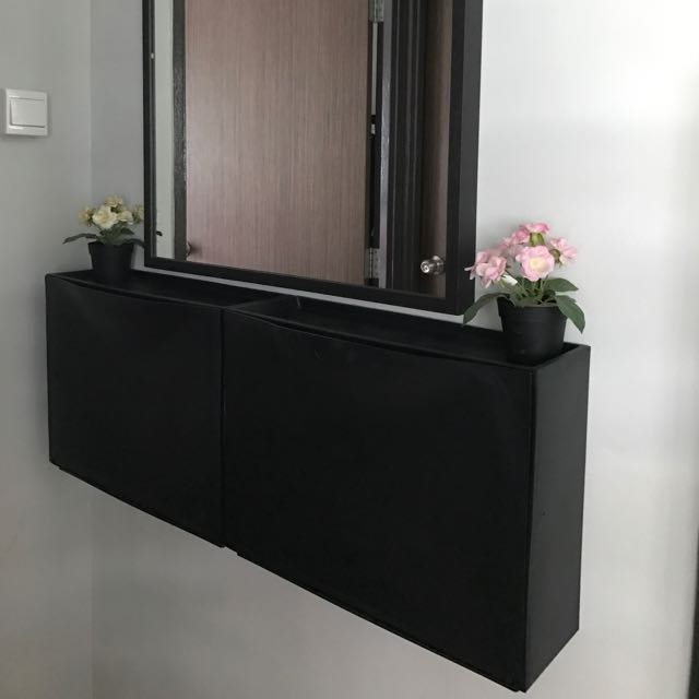 & Ikea Trones Shoe/storage Cabinet - Black Furniture Others on Carousell