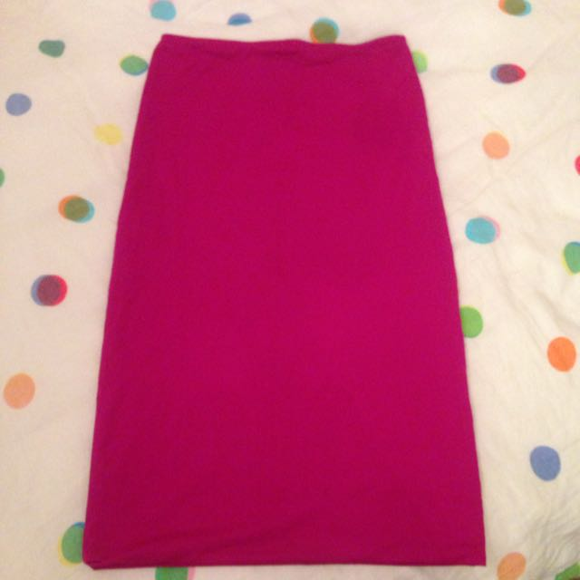 Kookai Size 1 Pencil Fuschia Midi Skirt