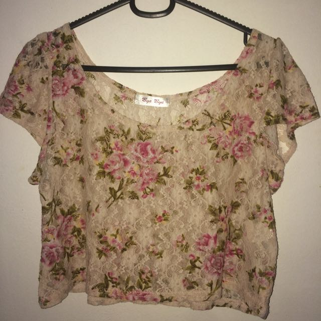 Lace Floral Sheer Crop Top