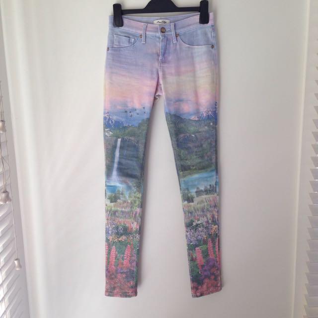 Landscape pattern jeans