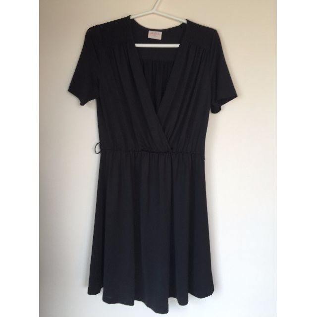 Leona Edminston Mock Wrap Dress Black Size 3 (12-14)
