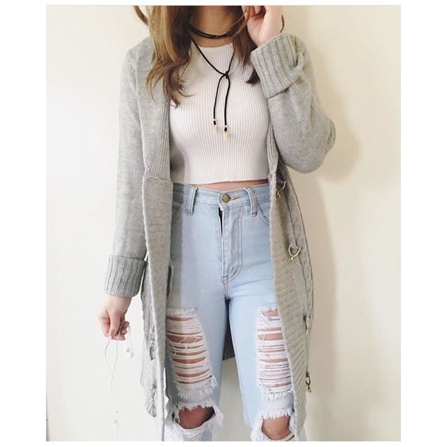 Long cable Knit cardi Sweater