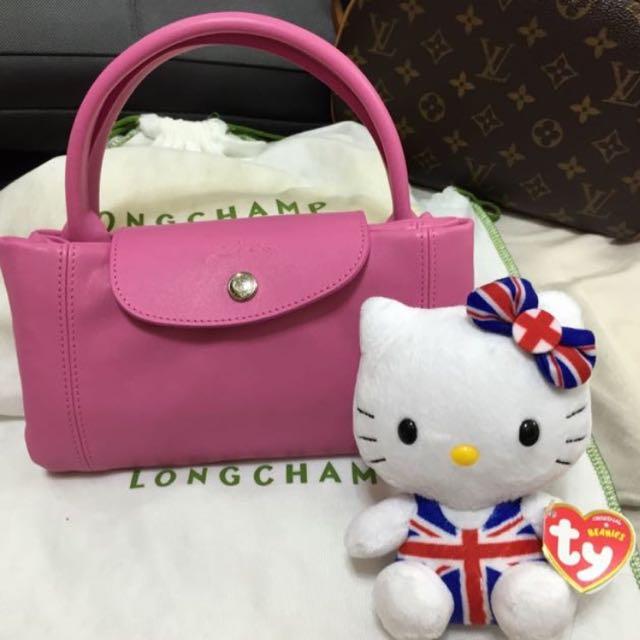 限時特惠Longchamp桃紅小羊皮包