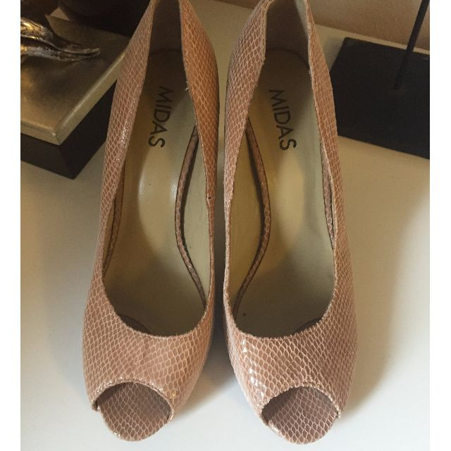 Midas Nude Peep toe shoes size 39 All Leather