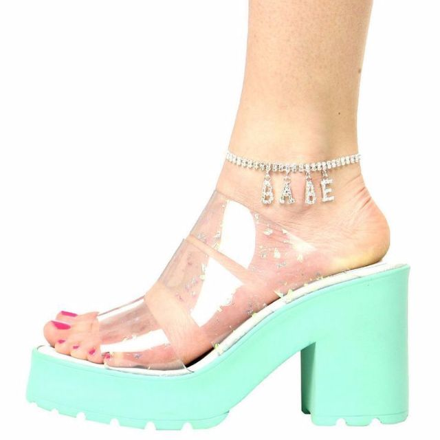 Miista Ava Mint Speckle Jelly Heeled Sandals Shoes Size 8 NEW with Box