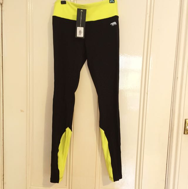 NEW Running Bare Tights - Size 8 - Black/Yellow