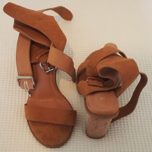 Nude/brown high heels with buckle size 8