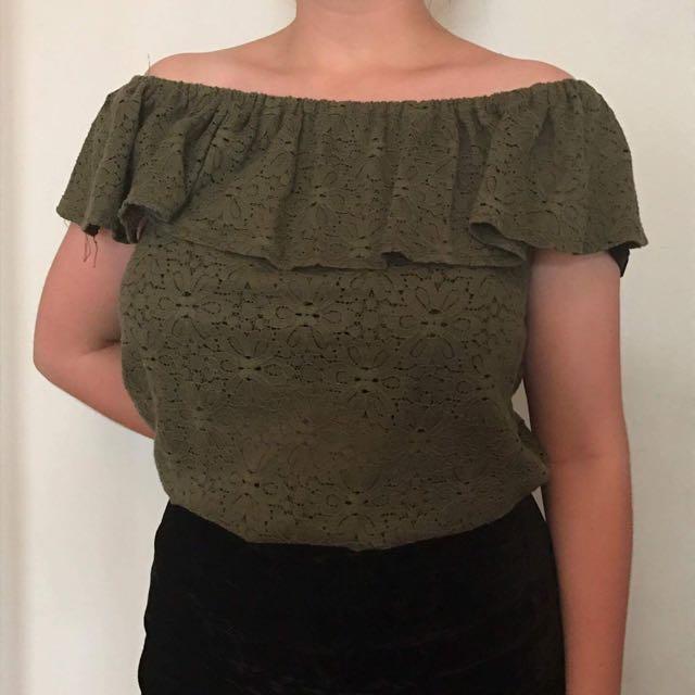 Off Shoulder Green Lace Top