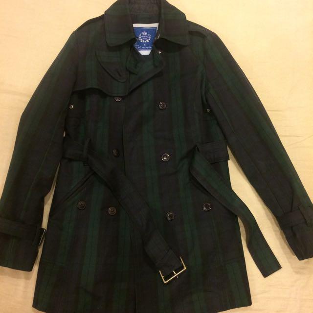 Olivo綠格紋經典風衣外套