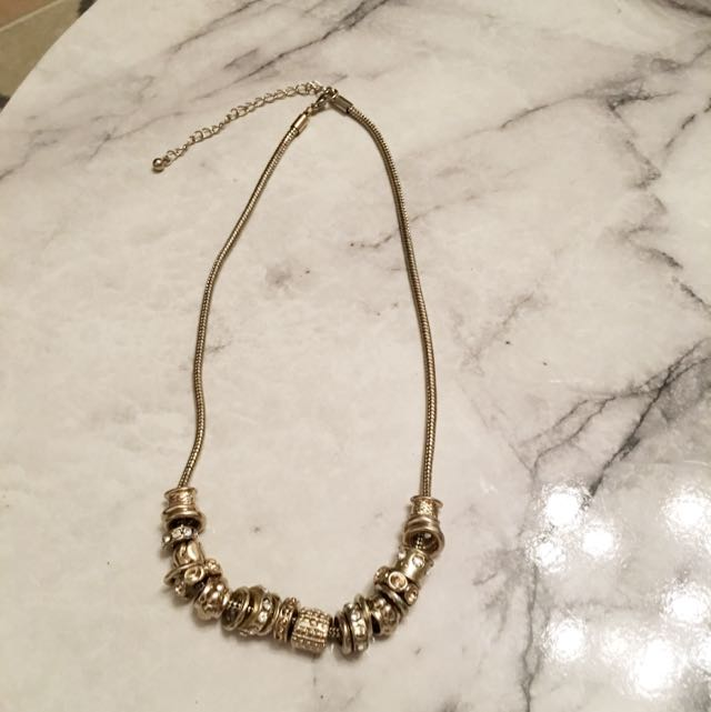 Pandora Like Charm Gold Necklace