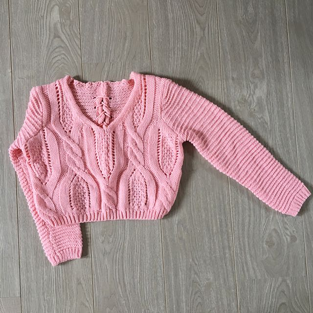 Generic | Pink Knit Back Lace Crop Top