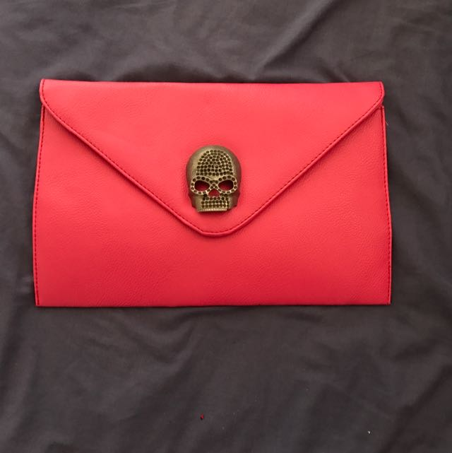 Pink Skull Envelope Clutch