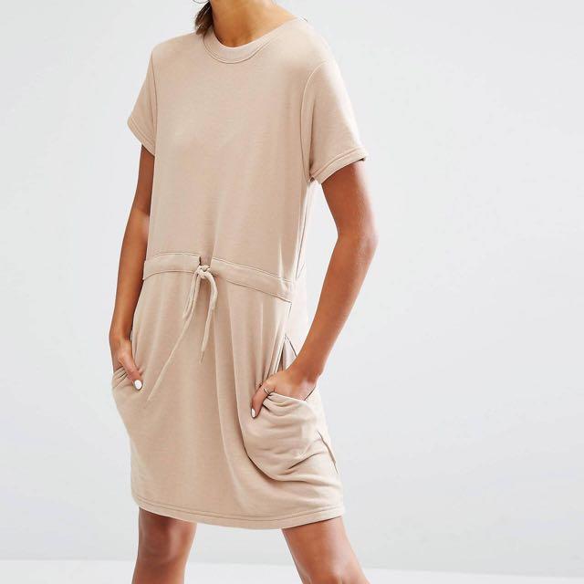 Daisy Street / ASOS | Raw Hem Sweater Drawstring Waist Dress