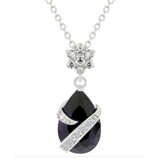 Royalty Amethyst Coloured Pend Necklace Pendant Rhodium Chain Jewelry