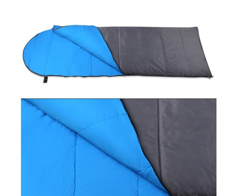 Single Camping Envelope Sleeping Bag Blue Grey