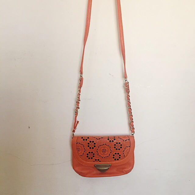 SM Women Orange Sling Bag