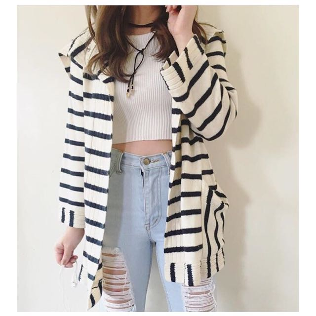 Stripe knit cardi sweater