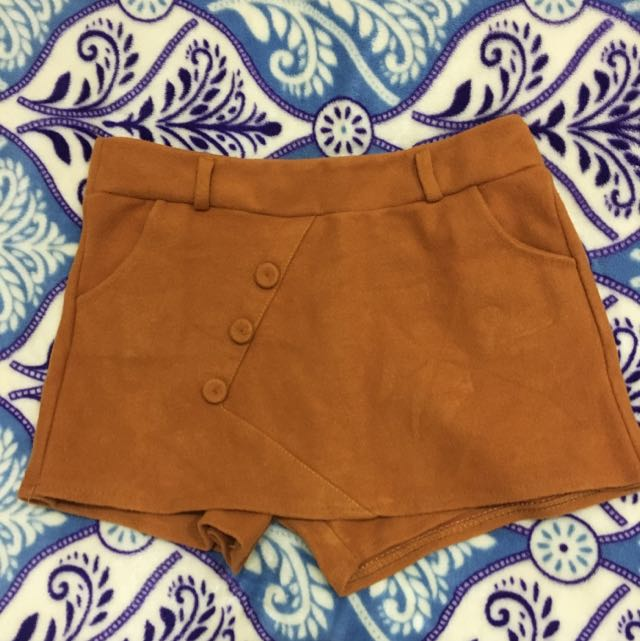 Suede Mini Skorts. In Very Good Condition, Worn 2x. Fits Xs To S