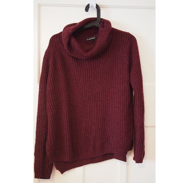 Turtleneck knitted purple/red jumper