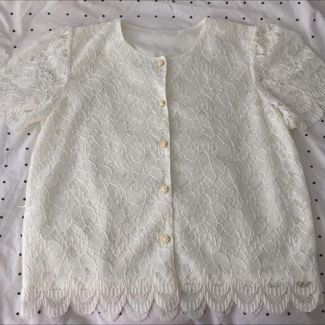 Vintage Cream Lace Button Down Blouse