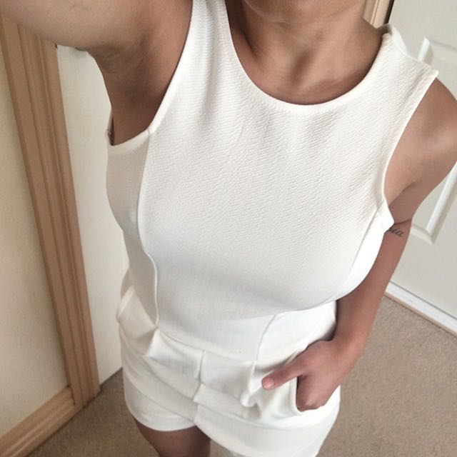 White play suit | boohoo.com