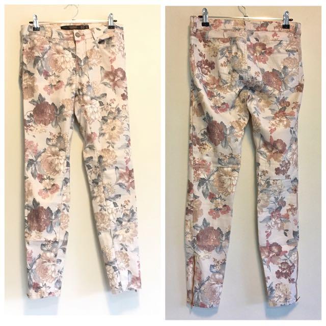 💚ZARA Cream Floral Skinny Pants Size 36