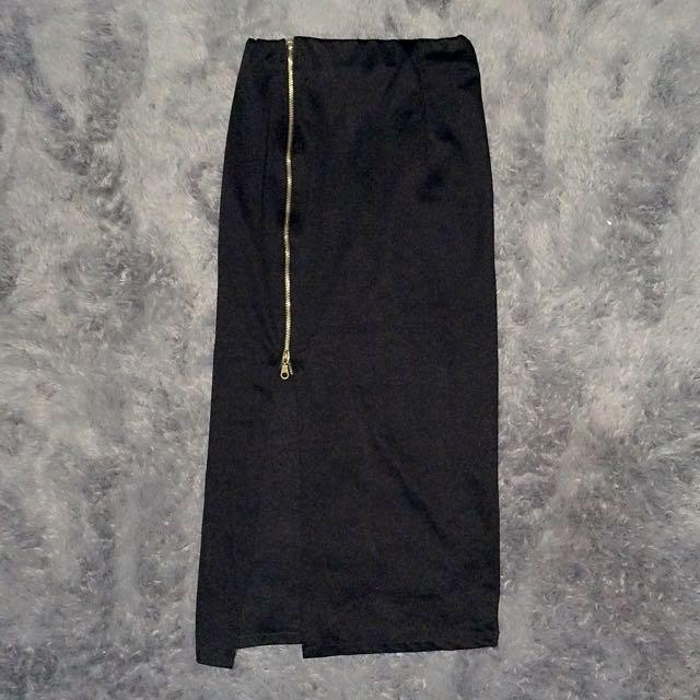 Zipper Slit Bodycon Midi Skirt