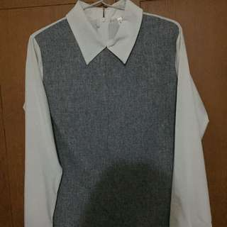 collar top grey