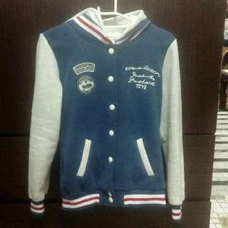 藍色棒球外套 #十月免購物直接送