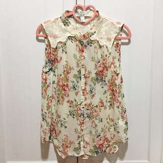SALE!!!!! Forever 21 XXI Floral Printed Lace Sleeveless Top
