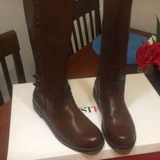 Brown Leather Thigh Boots