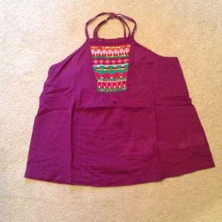 Purple Roxy Embroidered Halter Top