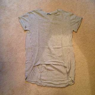 Grey/Pinstripe High-Low Zara T-Shirt