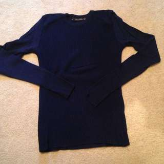 Navy Blue Zara Fine Knit Sweater
