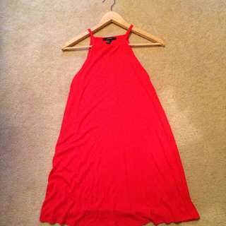 Red Forever 21 Ribbed Halter Neck Shift Dress