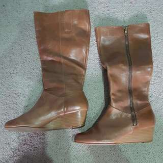 Tan Leather Knee-Length Wedged Boots